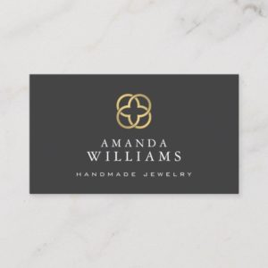 Abstract Faux Gold Clover Logo Jewelry Designer Business Card