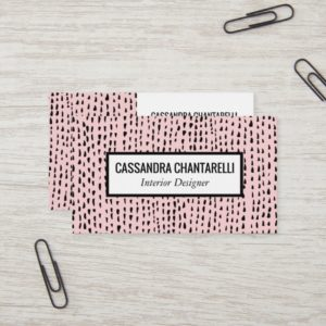 Abstract ink dots on pink business card design