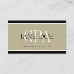 Accountant/CPA Tan/White/Black Borders Business Card