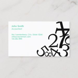 Accounting Bookkeeping Random Numbers Business Card