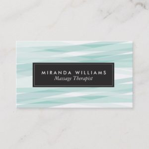Aqua Abstract Ribbons Business Cards