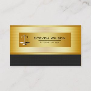 Attorney At Law Black and Gold Legal Scale Business Card