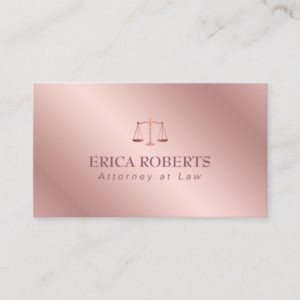 Attorney at Law Elegant Foil Rose Gold Lawyer Business Card