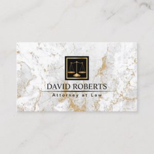 Attorney at Law Modern Gold Marble Stone Lawyer Business Card