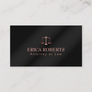 Attorney at Law Rose Gold Metallic Black Lawyer Business Card