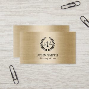 Attorney at Law Stylish Brushed Gold Business Card