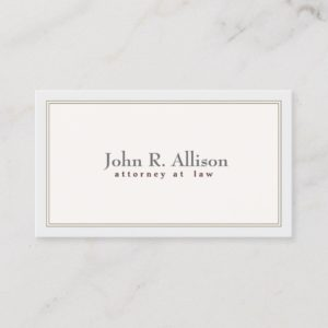 Attorney Elegant and Simple Ivory Border Business Card