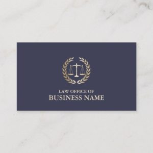 Attorney Lawyer Gold Scale of Justice Elegant Business Card