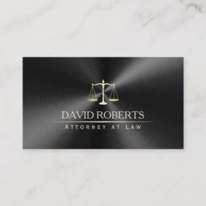 Attorney Lawyer Modern Black & Gold Metallic Business Card