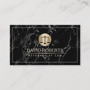 Attorney Lawyer Simple Framed Elegant Dark Marble Business Card
