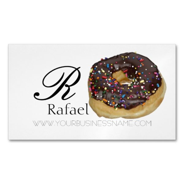 Bakery Donut Elegant Name Monogram Business Business Card Magnet
