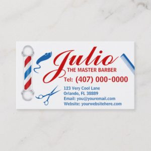 Barber Business Card Design (Customizable, pole)