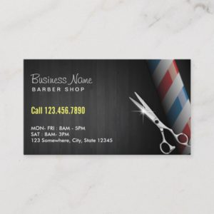 Barber Shop Professional Dark Wood Silver Scissor Business Card