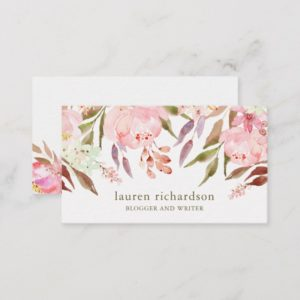 Beautiful Botanical | Watercolor Floral on White Business Card