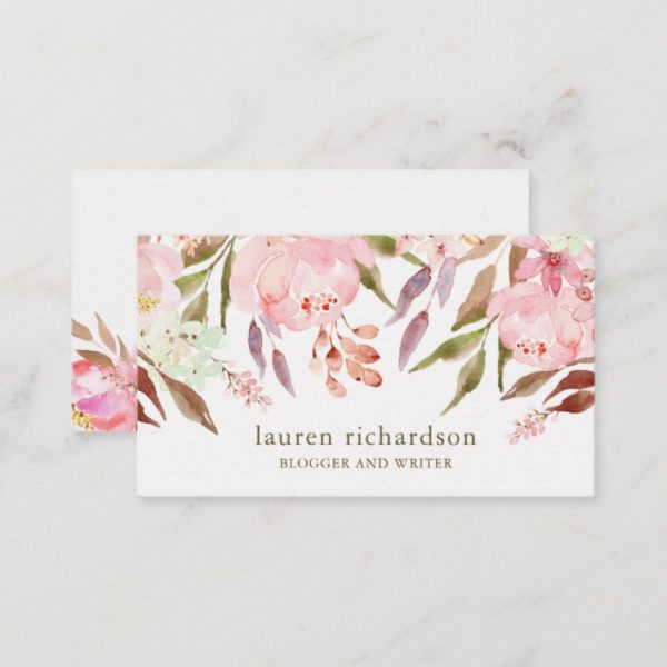 Beautiful Botanical   Watercolor Floral on White Business Card