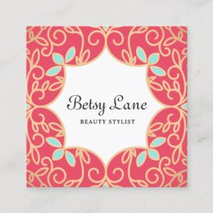 Beautiful Coral Red Rose Gold Swirls Beauty Salon Square Business Card