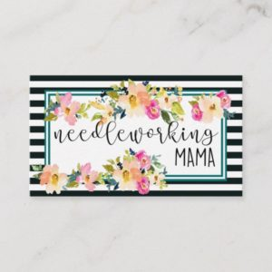 Beautiful floral and stripe 2 sided business card