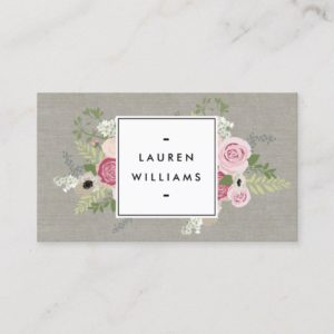 Beautiful Pink Roses on Linen Modern Elegance Business Card