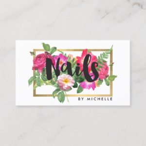 Beauty Florals Nail Salon White Business Card
