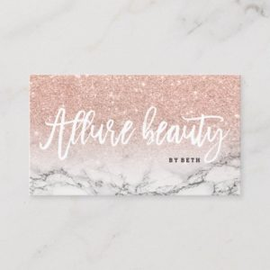 Beauty logo typography rose gold glitter marble business card