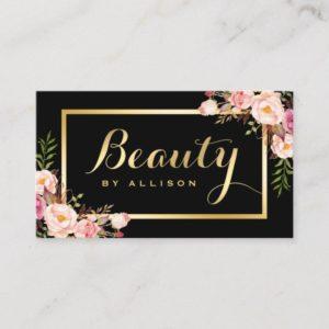 Beauty Script Makeup Salon Black Gold Floral Business Card