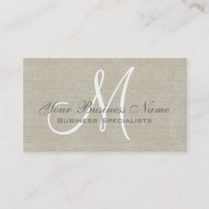 Beige Linen Grey Simple Plain Monogram Business Card