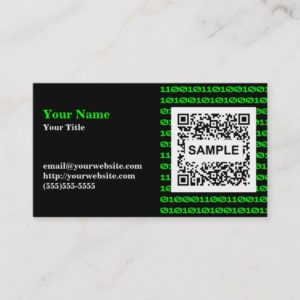 Binary QR Code Business Card - Monochrome Green