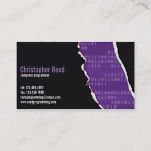 Binary Rip - Purple Business Card