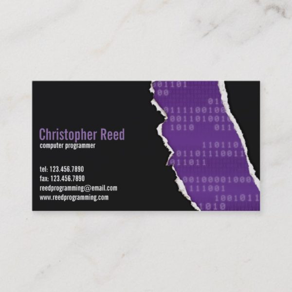 Binary Rip - Purple Business Card