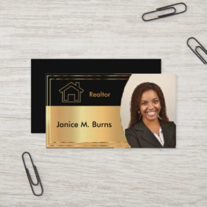 Black and Metallic Gold Realtor Photo Design Business Card