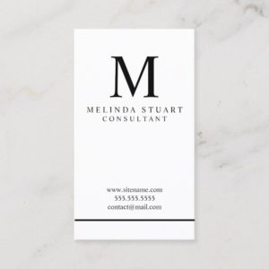 Black and White Elegant Monogram Business Card