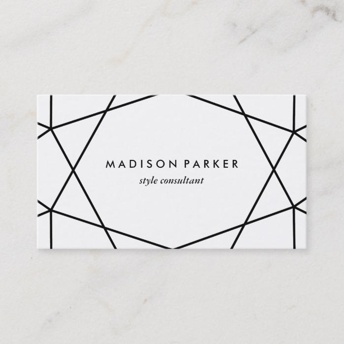 Black and White Modern Geometric Business Card