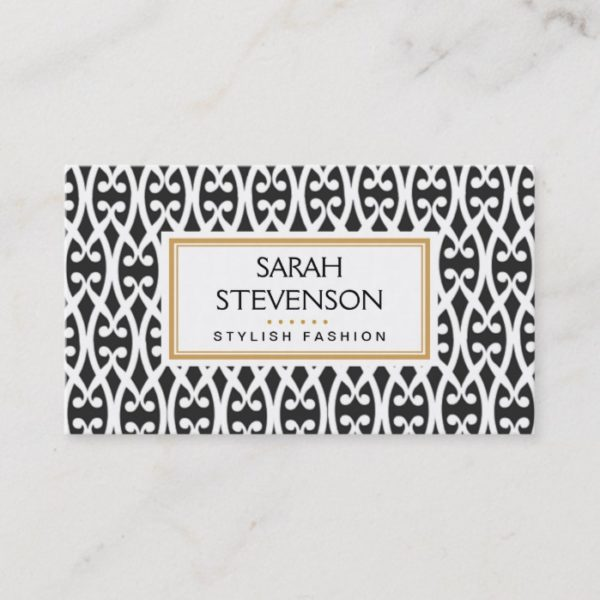 Black and White Scrolls Modern Fashion Boutique Business Card