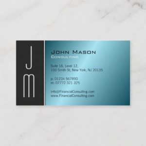 Black Aqua Monogram Professional Business Card