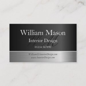 Black Foil & Steel Effect, Monogram Business Card