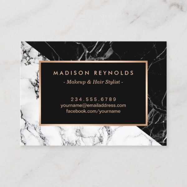 Black White Marble Beauty Salon Aftercare Card