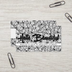 Black White Modern Flowers Hello Beautiful Business Card