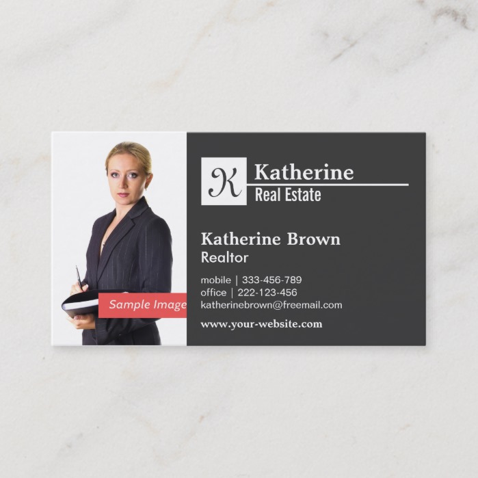 Black White Monogram Modern Minimalist Photo Business Card