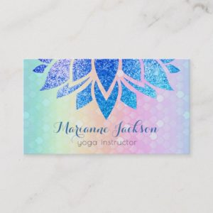 blue faux glitter lotus flower on rainbow pattern business card