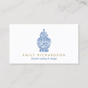 Blue Ginger Jar Pottery Logo Designer White/Blue Business Card