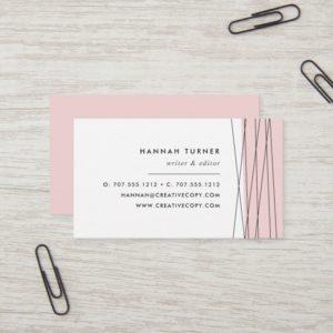 Blush & Black   Modern Geometric Business Card