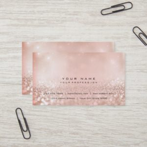 Blush Pearly Pink Gold Glitter Foxier Beauty Business Card
