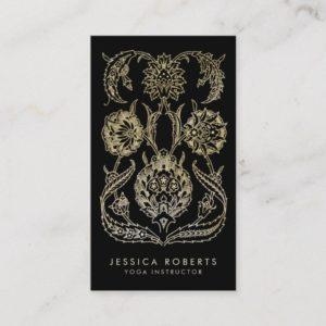 Bohemian Black Gold Look Modern Floral Business Card