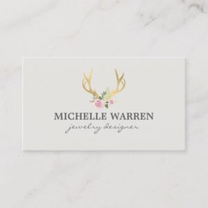 Bohemian Gold Antlers with Flowers II Business Card