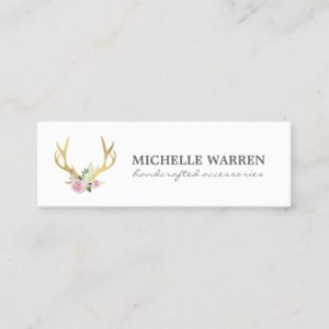 Bohemian Gold Antlers with Flowers Mini Business Card