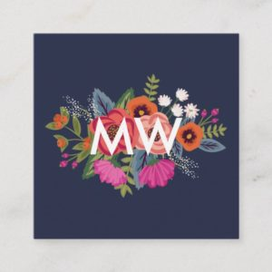 Boho Floral Bouquets - Navy Blue - Monogram Square Business Card