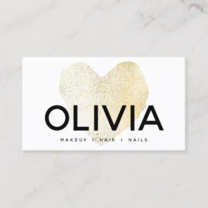 Bold Modern Gold Heart White Business Card
