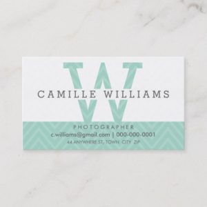 BOLD MONOGRAM LOGO modern simple initial mint Business Card