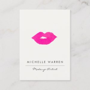 Bold Pink Lips Watercolor Makeup Artist Business Card