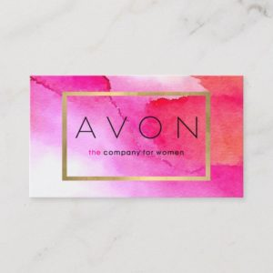 Bold Pink Watercolors Avon Representative Business Card